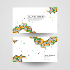 geometric colorful triangles design for business card
