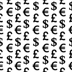 Currency symbols seamless pattern on white