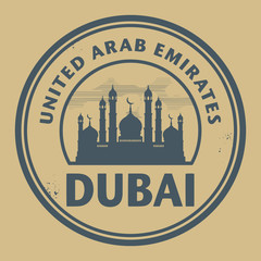 Stamp or label with text Dubai, United Arab Emirates