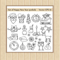 Vector set with symbols of happy new year
