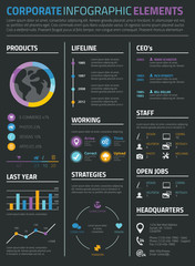 Infographic business and personal resume cv on black background