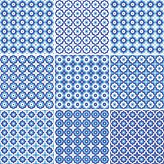 Set of seamless pattern white  blue ceramic tile