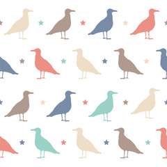 Seamless vector pattern with birds and stars. Halloween party.