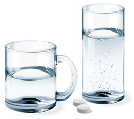 Mug and glass of water
