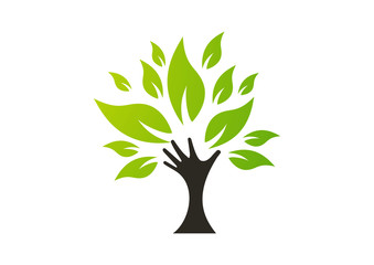 Hoping tree hands logo vector