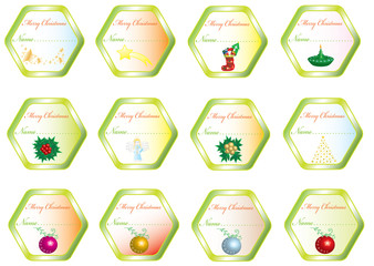 Christmas stickers with pictures, frame for text