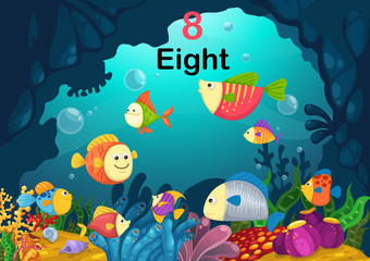 number eight fish under the sea vector