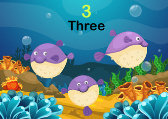 number three puffer fishes the sea vector