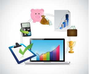 laptop and business concept illustration design