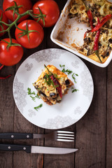Moussaka dish with aubergine and chili pepper
