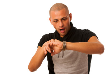 young man gesture being late watching on watch isolated over whi