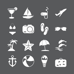 summer beach icon set, vector eps10