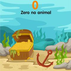 Illustrator of number zero underwater