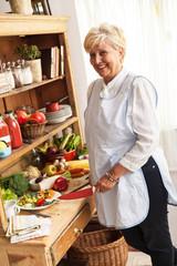 Senior woman  preparing vegetables