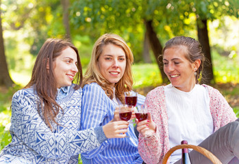 Three girlfriends drinking wine in nature