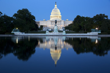 Capitol building in Washington illuminated at night. Wall mural