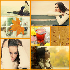 Collage of photos with lonely young woman