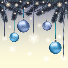 Christmas card with blue balls
