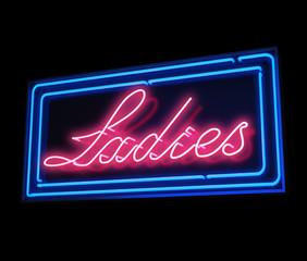 Ladies neon sign illuminated over dark background