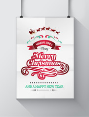 Christmas greeting message with illustrations on poster