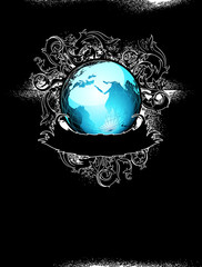 earth globe decorative art label