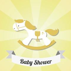 rocking horse illustration over yellow background