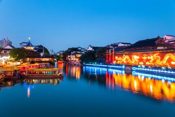 Fotobehang - nanjing confucius temple in nightfall