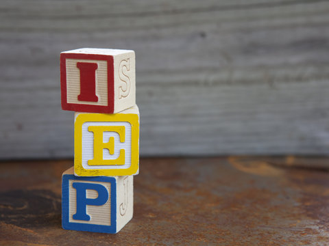 Indivualized Education Plan (IEP) alphabet blocks