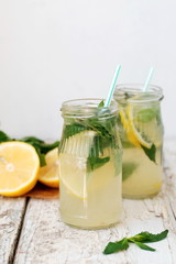 Mint lemonade, selective focus