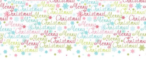 Vector merry christmas text horizontal border seamless pattern