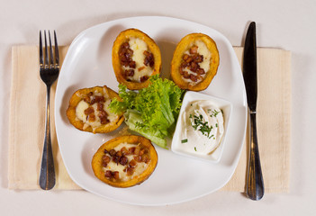 Potato Skins Appetizer on Plate