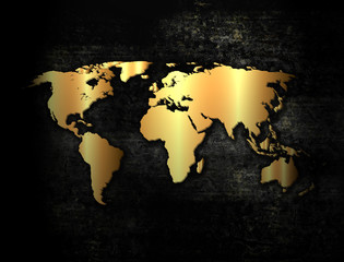 Golden world map