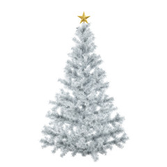 White Christmas tree with golden star