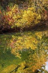 Fall Colors Water Reflection Wenatchee River Washington