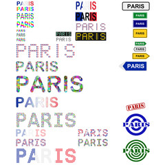 Paris text design set