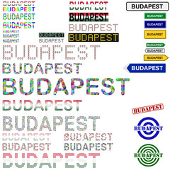 Budapest text design set