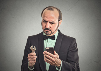 Business solution tools concept. Worried looking business man