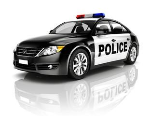 Side View Studio Shot Of Black Sedan Police Car