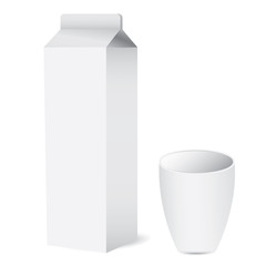 milk box with cup vector design