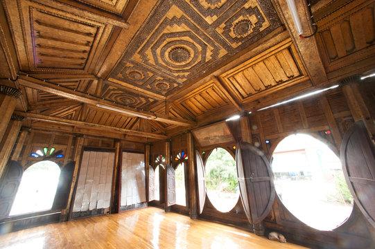 Myanmar art on ceiling at wood Church in temple, Myanmar.