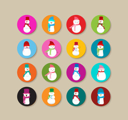 Collection Of snowman  christmas Labels And Icons