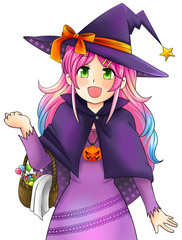 Pretty witch of Halloween in Japanese manga style, create by vec