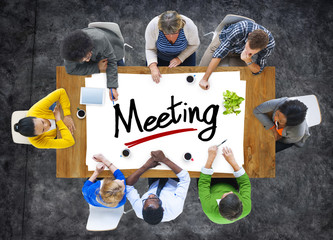 Aerial View with People and Text Meeting