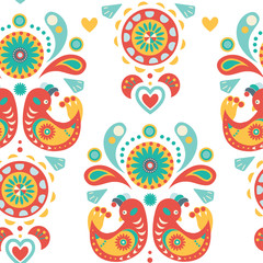 Seamless Colorful ornament with birds