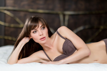Glamour portrait - sexy beautiful woman in lingerie