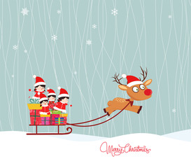 Merry christmas winter with kids