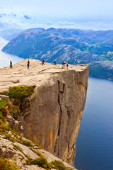 Wall Murals Northern Europe Cliff Preikestolen in fjord Lysefjord - Norway