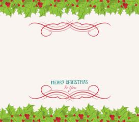 Christmas holly top and bottom border