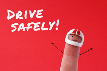 Drive safely - funny finger figure with helmet