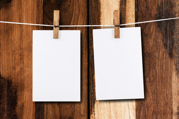 Paper hanging in wood background
